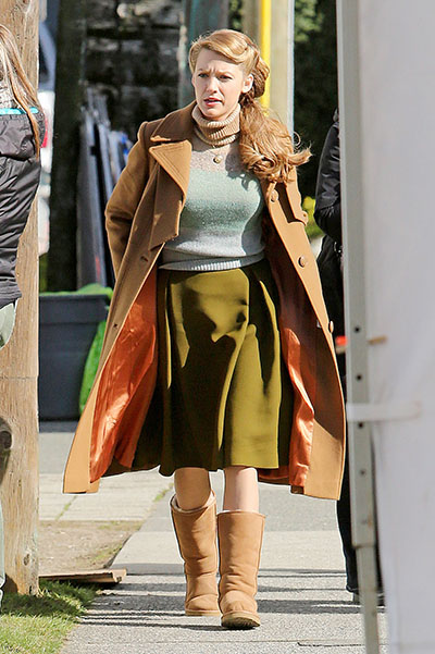 """*EXCLUSIVE* Blake Lively is Retro Chic on the set of """"Age of Adaline"""" **NO Canada, Germany, Austria**"""