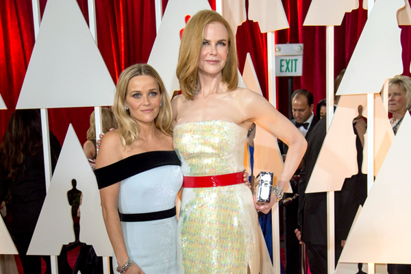 """Reese Witherspoon, Oscar® nominee for Achievement for Actress in a Leading Role, for work on """"Wild"""" poses backstage with Nicole Kidman during the live ABC Telecast of The 87th Oscars® at the Dolby® Theatre in Hollywood, CA on  Sunday, February 22, 2015."""